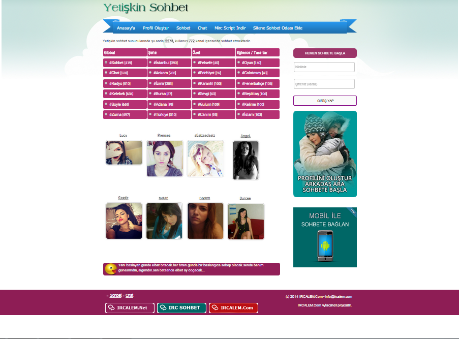 Ücretsiz Sohbet Teması | PHP
